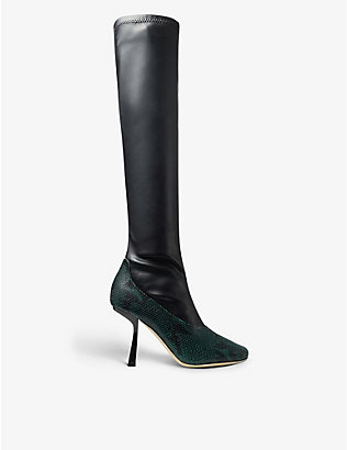 JIMMY CHOO: Myka snake-print leather boots
