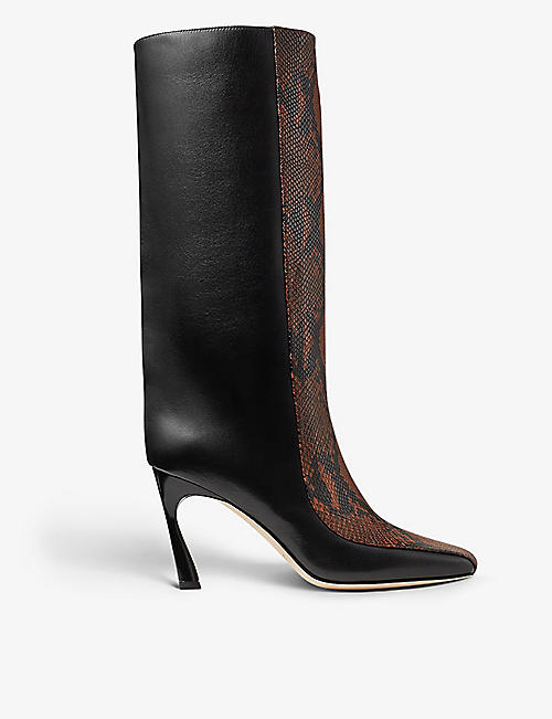 JIMMY CHOO: Maybn square-toe snakeskin-print leather boots