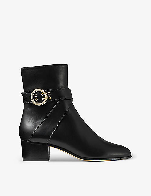 JIMMY CHOO: Blanka 40 buckle-embellished leather heeled ankle boots