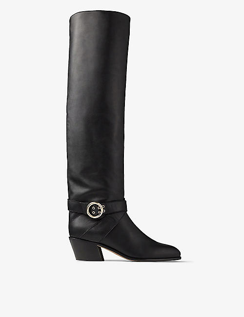 JIMMY CHOO: Beca 45 buckle-embellished leather heeled boots