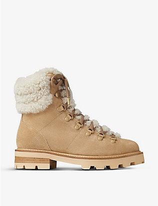 JIMMY CHOO: Eshe lace-up shearling and suede hiking boots