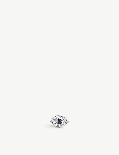 ROXANNE FIRST: Evil Eye 14ct white gold, diamond, and sapphire stud earring
