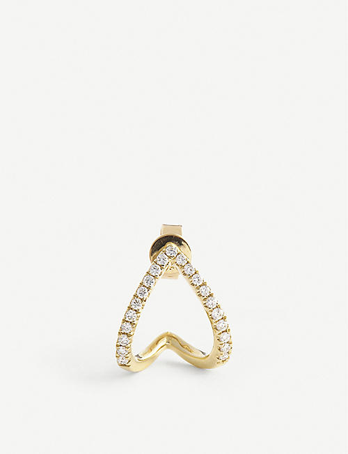 ROXANNE FIRST: Dia 14ct yellow gold and diamond stud earring