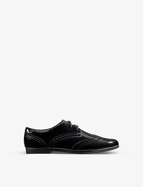 CLARKS: Scala Lace Kid patent-leather derby brogues 7-9 years