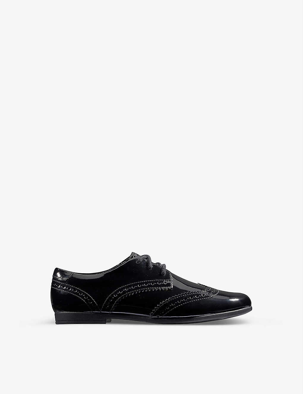 Clarks Loxham Brogue Youth Leather Shoes in Black Wide Fit Size 7