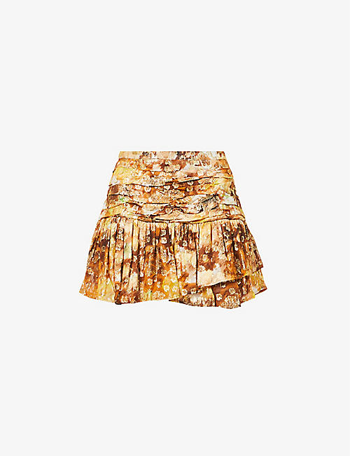 LOVESHACKFANCY: Moe floral-print woven mini skirt
