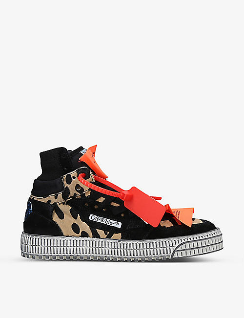 OFF-WHITE C/O VIRGIL ABLOH: Off-Court 3.0 high-top leather and woven high-top trainers