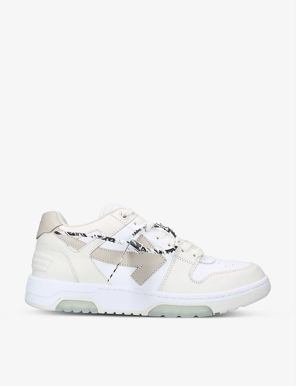 OFF-WHITE C/O VIRGIL ABLOH: Out Of Office logo-embroidered leather low-top trainers