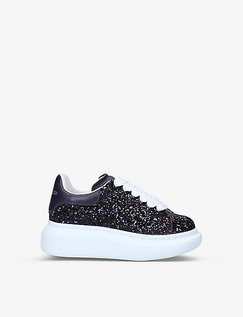 ALEXANDER MCQUEEN: Runway glitter leather trainers 4-8 years
