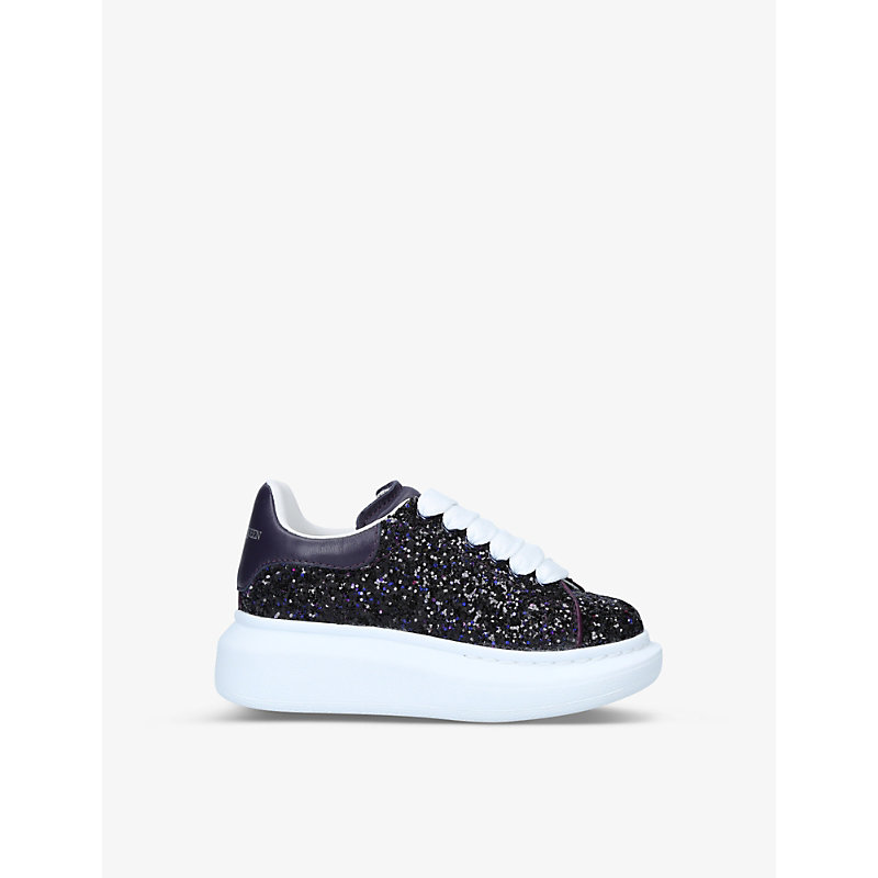 Alexander Mcqueen RUNWAY GLITTER LEATHER TRAINERS 4-8 YEARS
