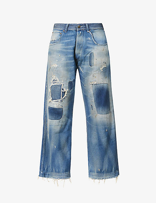 MAISON MARGIELA: Patchwork straight-leg high-rise jeans