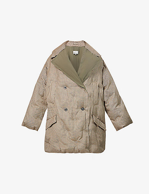 MAISON MARGIELA: Checked padded wool-down coat