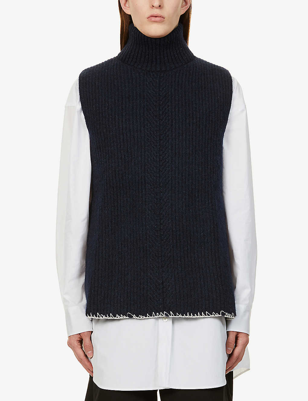 MAISON MARGIELA: Sleeveless wool-blend cardigan
