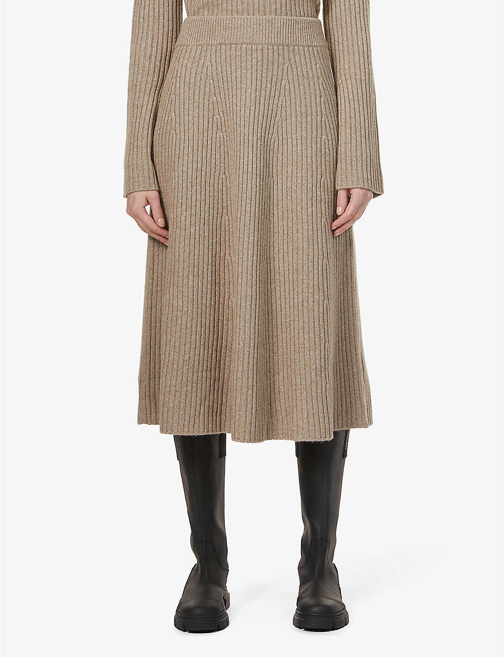 CHINTI AND PARKER: Contoured-rib cashmere skirt