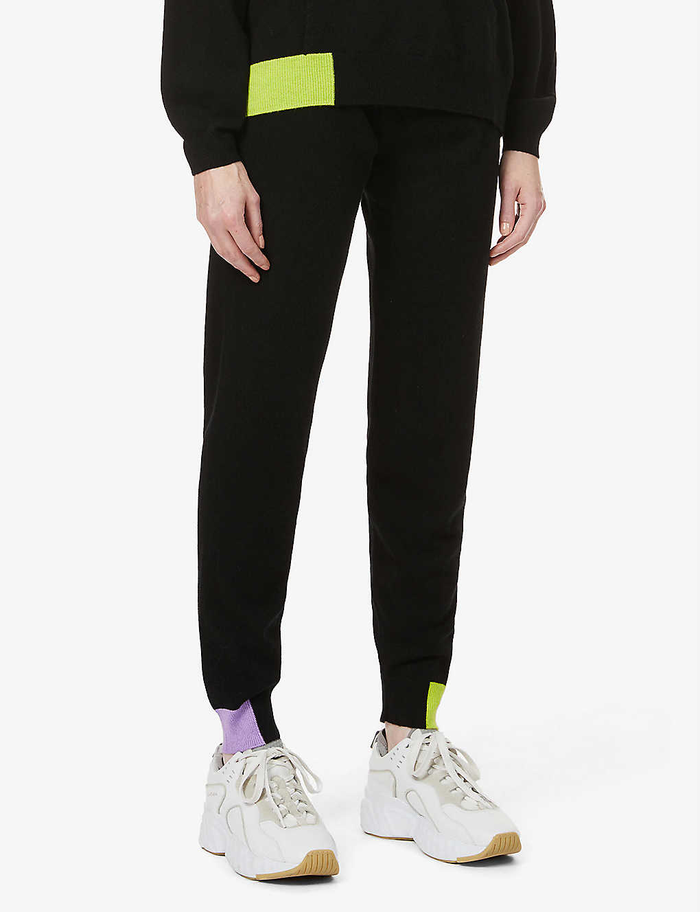 CHINTI AND PARKER: Contrast-trim cashmere jogging bottoms