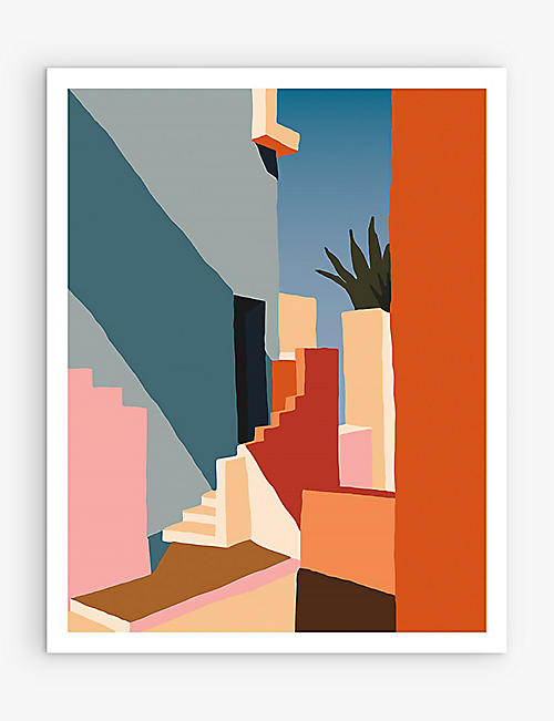 SLOW DOWN STUDIO: Tangerine Stairs art print 35.5cm x 28cm