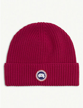 CANADA GOOSE: Logo-patch wool beanie hat