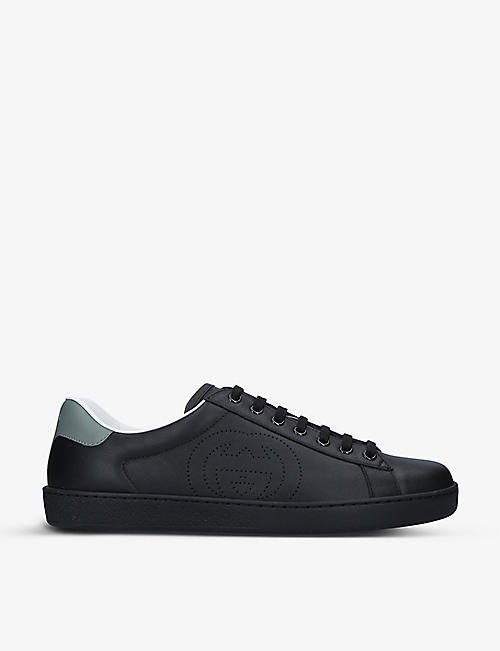 GUCCI: Men's New Ace perforated leather mid-top trainers
