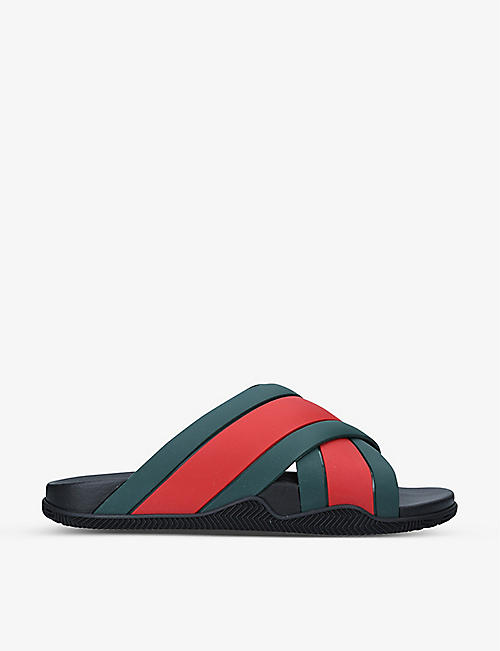 GUCCI: Web stripe rubber sliders