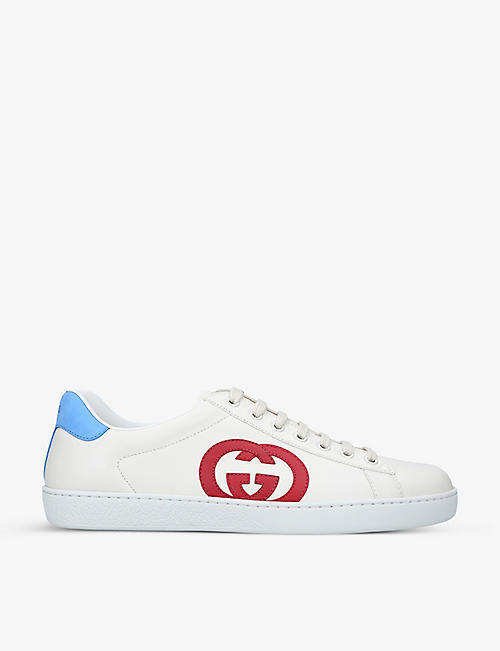 GUCCI: New Ace colour-blocked leather mid-top trainers