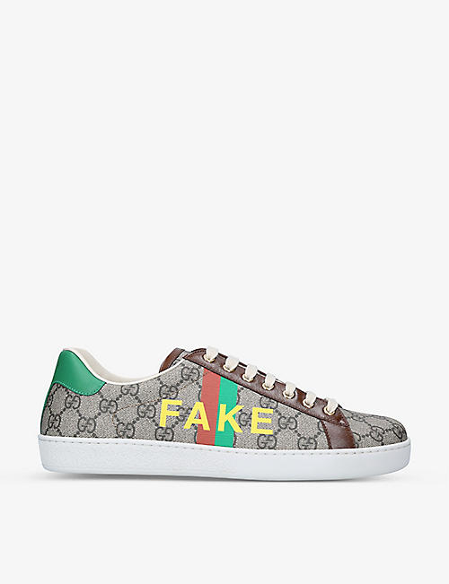 GUCCI: New Ace Fake/Not canvas trainers