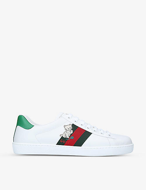 GUCCI: New Ace animal-patch leather low-top trainers