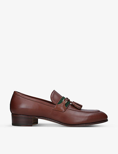 GUCCI: Paride web stripe-embellished leather loafers
