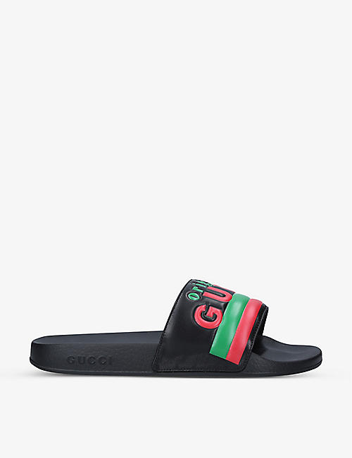 GUCCI: Pursuit brand-print rubber sliders