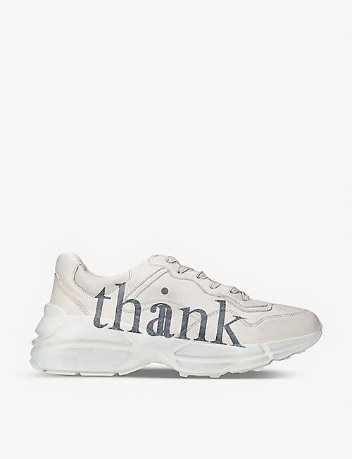 GUCCI: Rhyton Think Thank distressed leather trainers