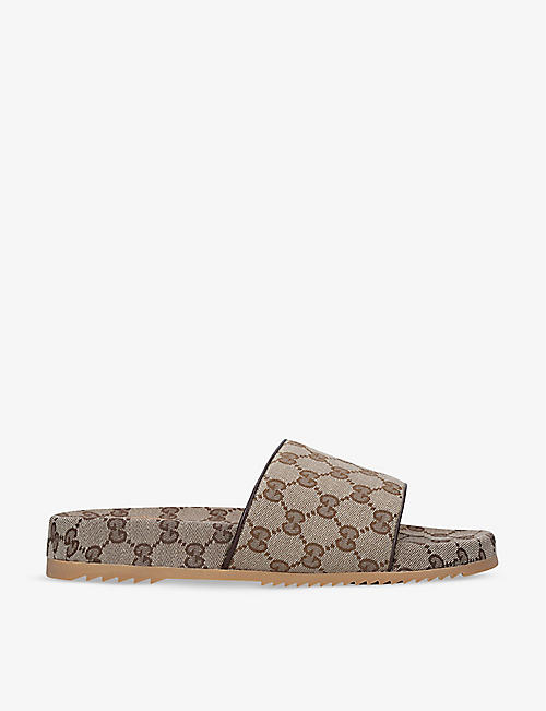 GUCCI: GG-print canvas sliders