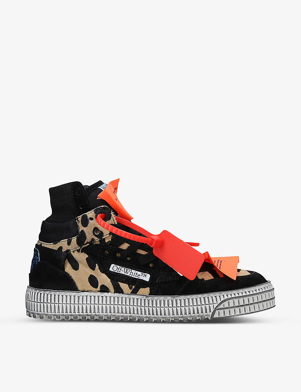 OFF-WHITE C/O VIRGIL ABLOH: Court 3.0 suede and leopard-print pony trainers