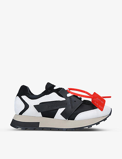 OFF-WHITE C/O VIRGIL ABLOH: Arrow-patch leather mid-top trainers