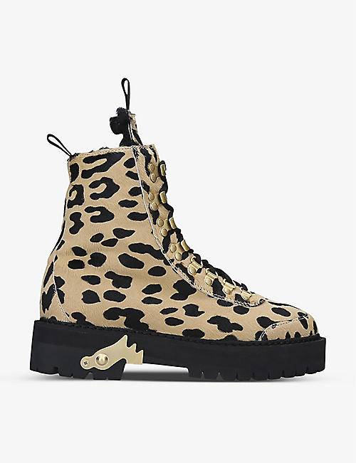 OFF-WHITE C/O VIRGIL ABLOH: Leopard-print pony leather hiking boots