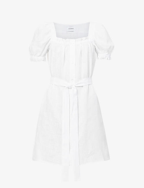 SLEEPER: Brigette puffed-sleeve linen mini dress