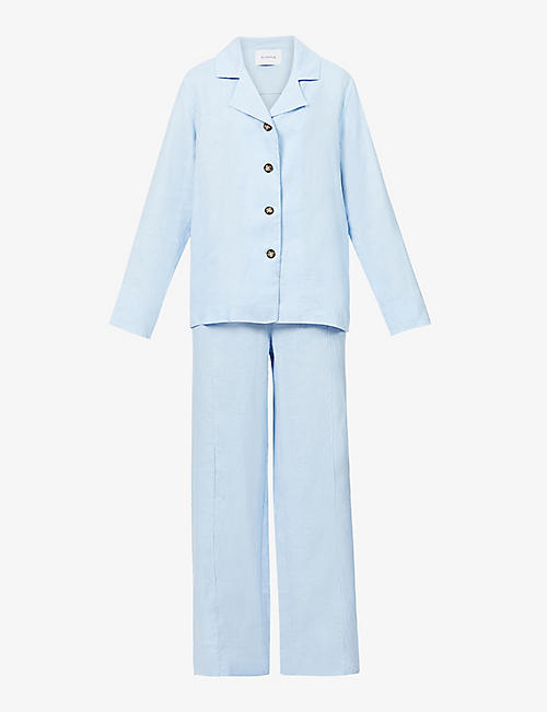 SLEEPER: Long-sleeved linen pyjama set