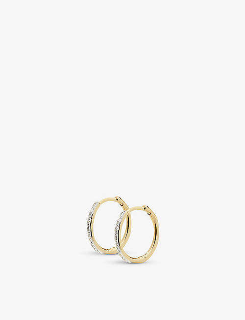 MONICA VINADER: Riva Wave 18ct yellow-gold vermeil and diamond earrings