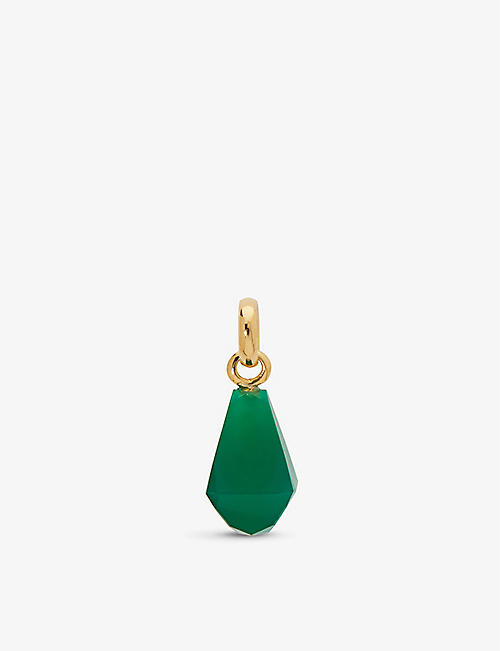 MONICA VINADER: Doina 18ct gold vermeil sterling silver and green onyx pendant