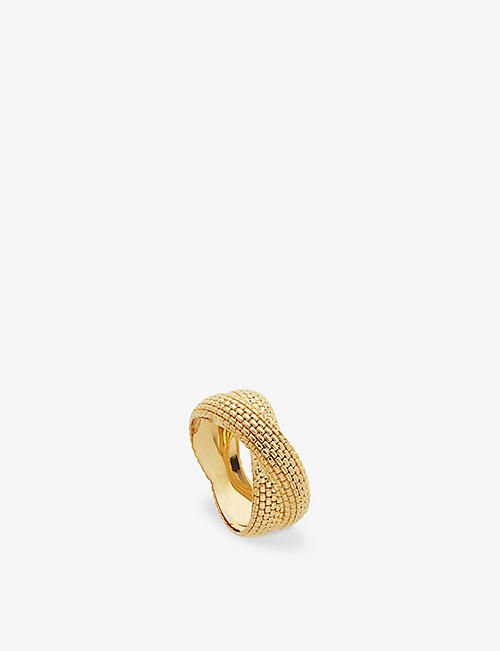 MONICA VINADER: Doina Chain Cross 18ct gold vermeil sterling silver ring