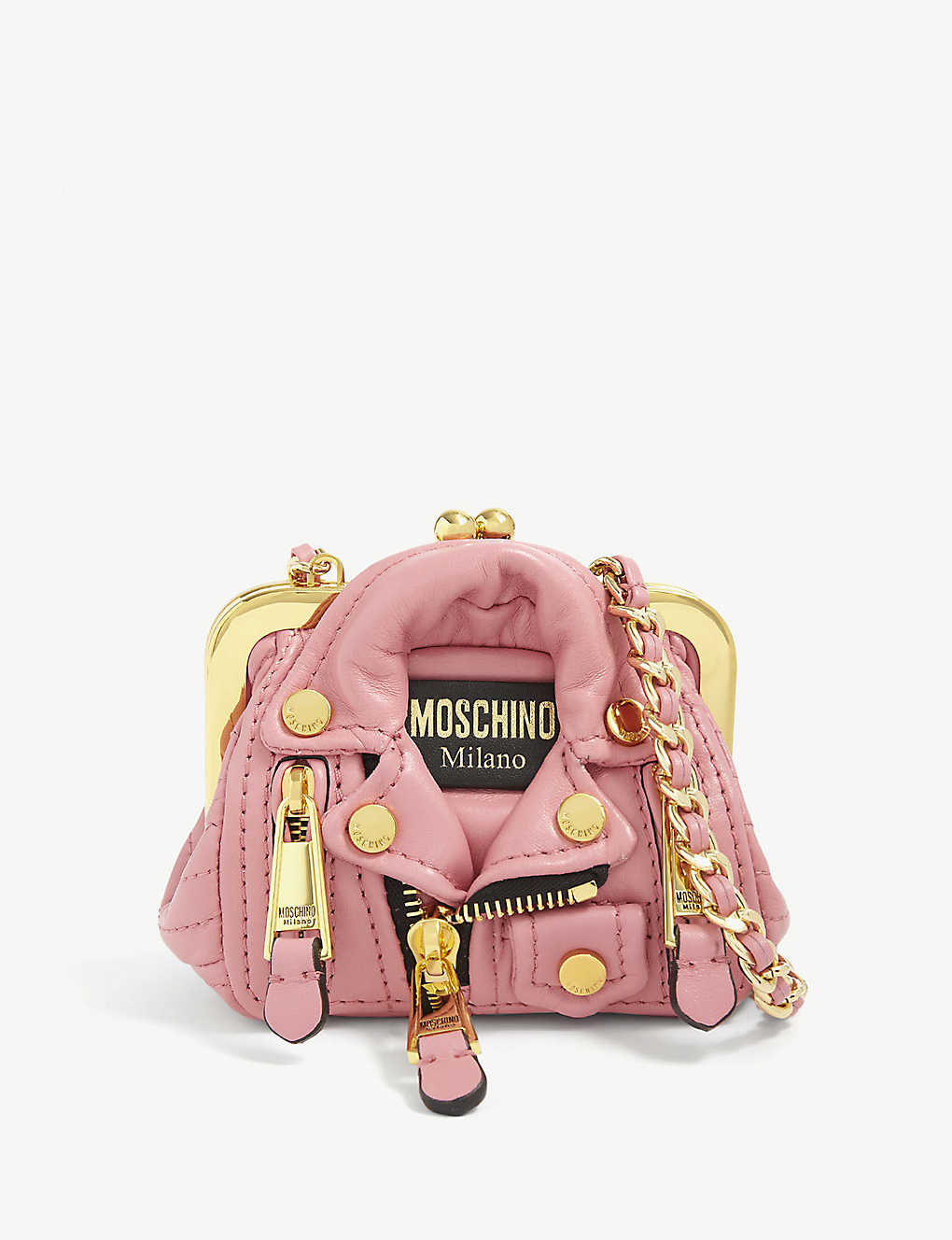 MOSCHINO: Biker jacket micro faux leather shoulder bag