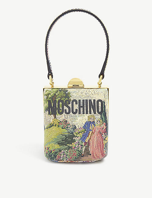 MOSCHINO: Logo-embossed tapestry clutch bag