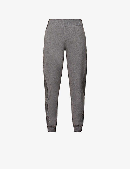 VAARA: Amie contrast-stripe tapered organic-cotton jogging bottoms