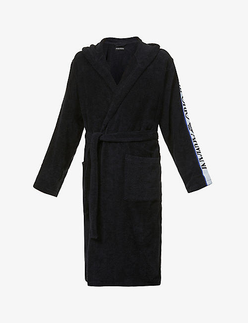 EMPORIO ARMANI: Logo-print cotton-towelling dressing gown