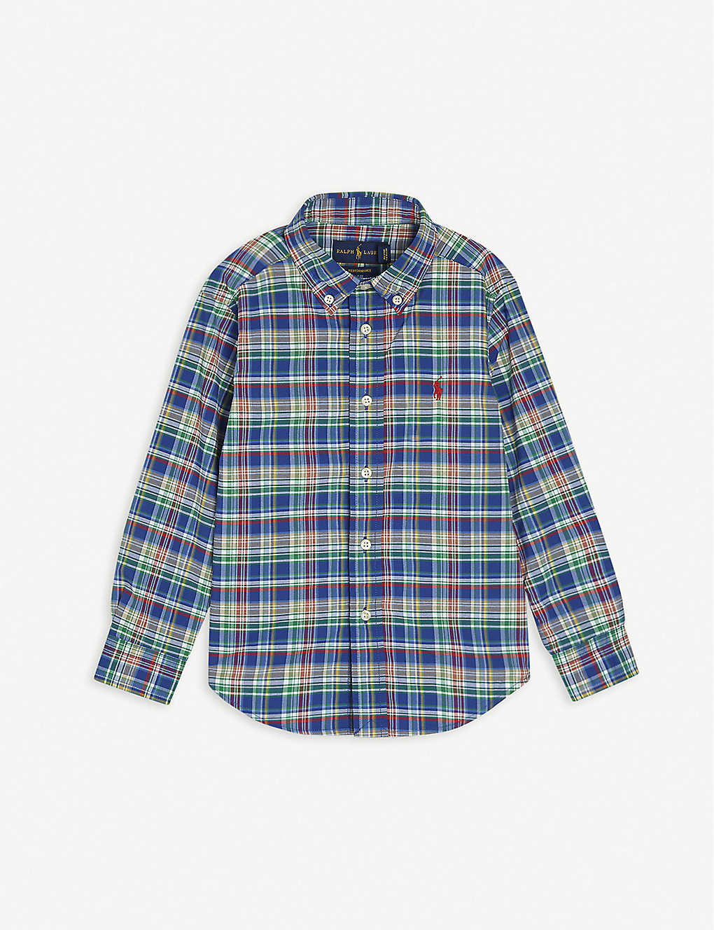 RALPH LAUREN: Checked logo-embroidered cotton shirt 2-4 years