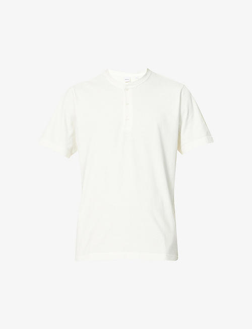 ASPESI: Mandarin-collar cotton-jersey T-shirt
