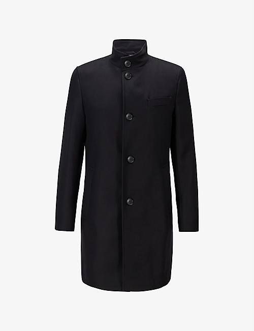 BOSS: High-neck single-breasted cotton coat