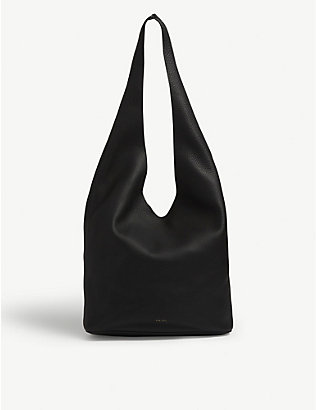 THE ROW: Bindle logo-print leather shoulder bag