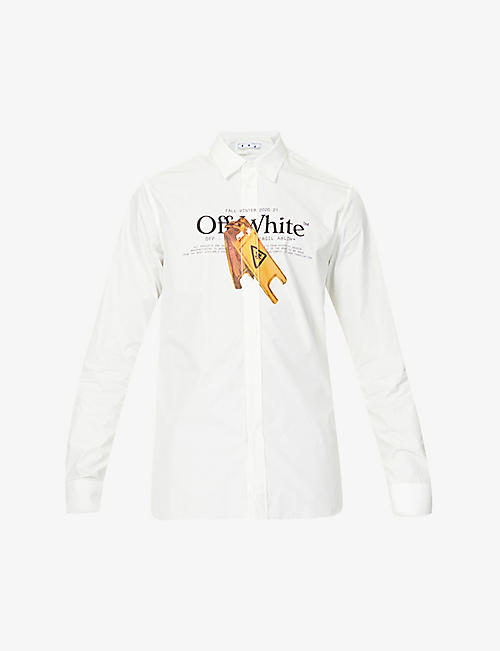 OFF-WHITE C/O VIRGIL ABLOH: Wet Floor-print cotton-blend shirt