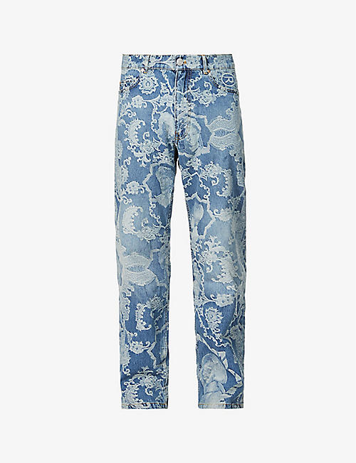 MARTINE ROSE: Floral-print relaxed-fit straight denim jeans