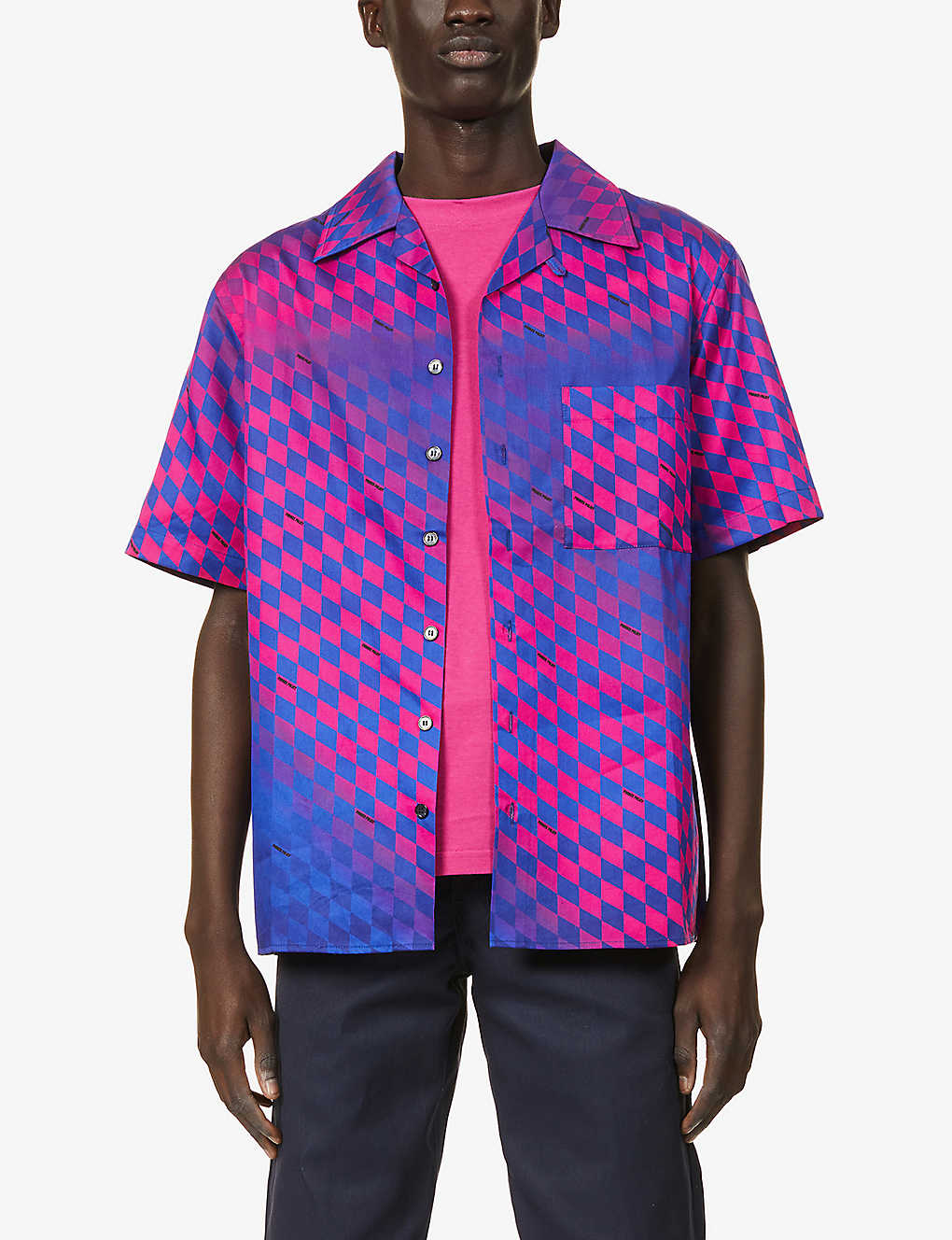 PRIVATE POLICY: Geometric-print relaxed-fit cotton shirt