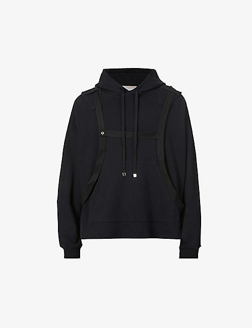 PRIVATE POLICY: Harness-embellished cotton-jersey hoody